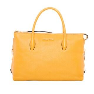 Miu Miu Madras Goldenrod Side Zip Leather Satchel Bag