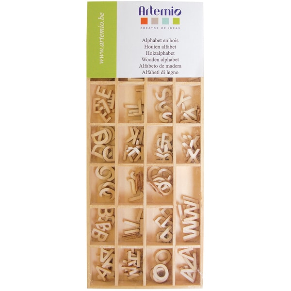 Artemio Wooden Alphabet 162/Pkg-Natural .51""