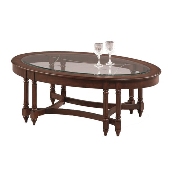 Canton heights dark berry oval cocktail table 16939853 for Furniture of america architectural inspired dark espresso coffee table