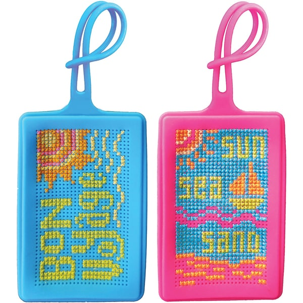 "iStyle Silicone Luggage Tags Counted Cross Stitch Kit-3.54""X2.4"" 15 Count"