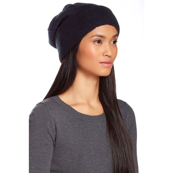 KC Signatures Black Extra Long Slouchy Beanie