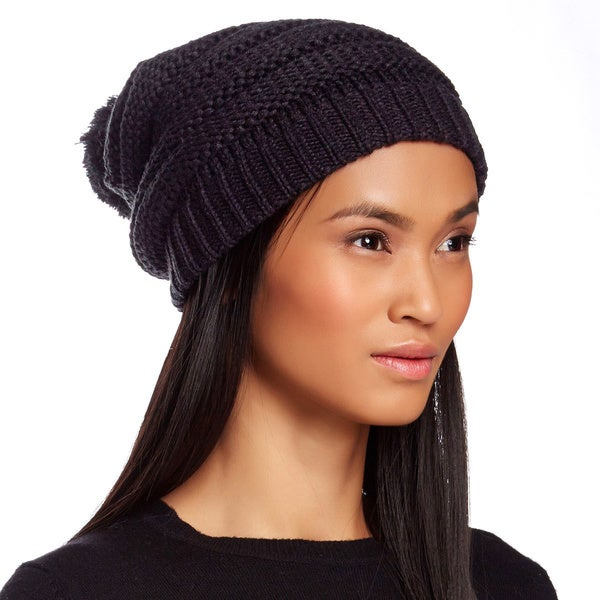 KC Signatures Textured Pom-pom Beanie
