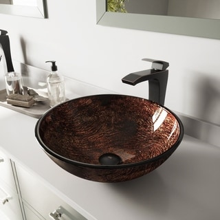 VIGO Kenyan Twilight Glass Vessel Sink and Blackstonian Faucet Set in Antique Rubbed Bronze Finish