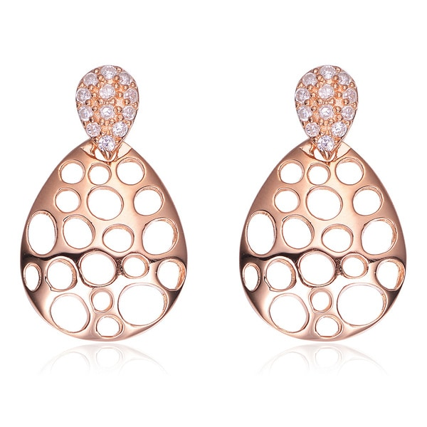 Collette Z Rose Gold-plated Sterling Silver Cubic Zirconia Pear Drop Earrings
