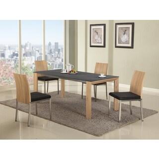 Somette Alyson Light Oak Glass Top Dining Table