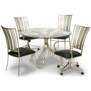Somette Ashton Brushed Nickel/ Glass Dining Table