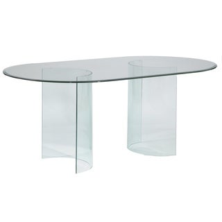 Somette Split 'C' Racetrack 72-inch Oval Glass Dining Table