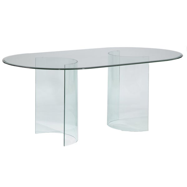 Somette Split 39 C 39 Racetrack 72 Inch Oval Glass Dining Table