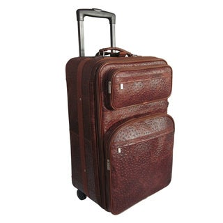 Amerileather Ostrich Brown Leather 25-inch Medium Rolling Upright Suitcase