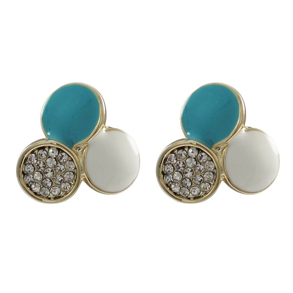 Goldtone Blue and White Enamel Crystal Tri-circle Stud Earrings