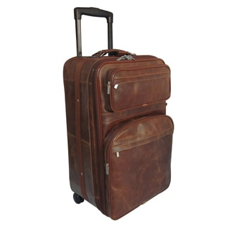 Amerileather Waxy Brown Leather 25-inch Expandable Rolling Upright Suitcase