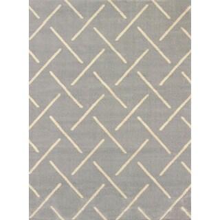 Visions Bernadette Grey Multi-texture Area Rug (5'3 x 7'2)