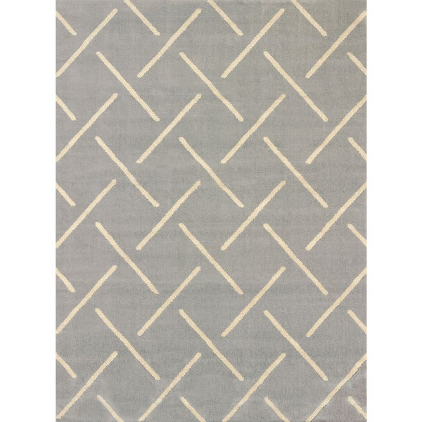 Visions Bernadette Grey Multi-texture Area Rug (5'3 x 7'2)