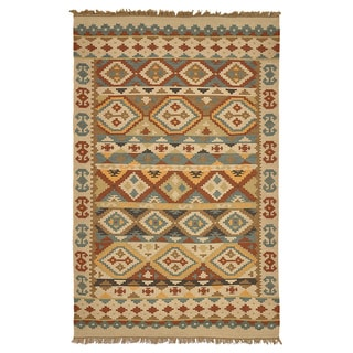 Kosas Home Lark Olive Green Tribal Pattern Indoor/ Outdoor Recycled Kilim (2' x 3')
