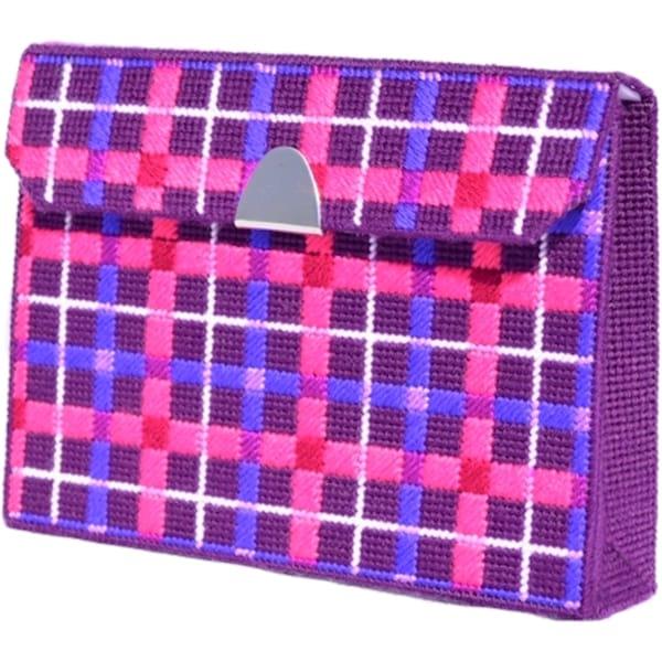 "Royal Purple Tartan Clutch Framous Plastic Canvas Kit-6.5""X8.6""X2"" 10 Count"
