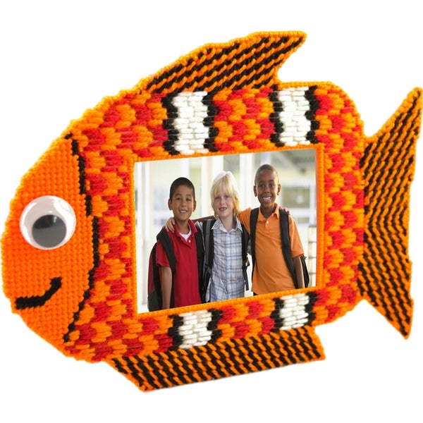 "Fun Fish, Orange Fish Framous Plastic Canvas Kit-3.5""X2.8"" 10 Count"