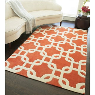 Amore Orange Geometric Area Rug (8' x 10')