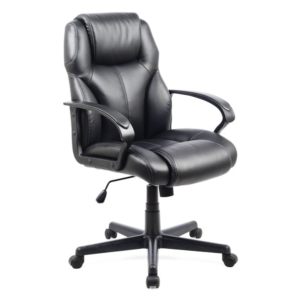 CorLiving WHL-203-C Black Leatherette Managerial Office Chair