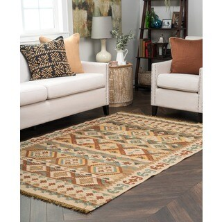 Kosas Home Lark Olive Green and Brown Tribal Pattern Indoor/ Outdoor Recycled Kilim (8' x 10')