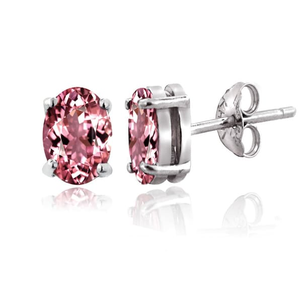 Glitzy Rocks Sterling Silver 1ct Pink Tourmaline Oval Stud Earrings