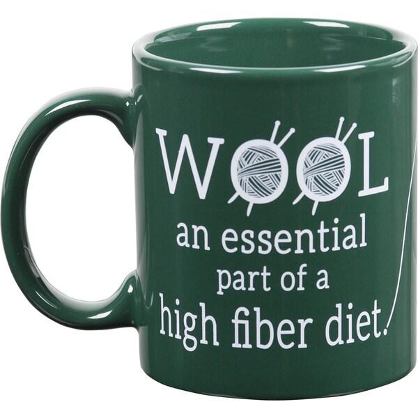 Knit Happy Green Mug-Wool