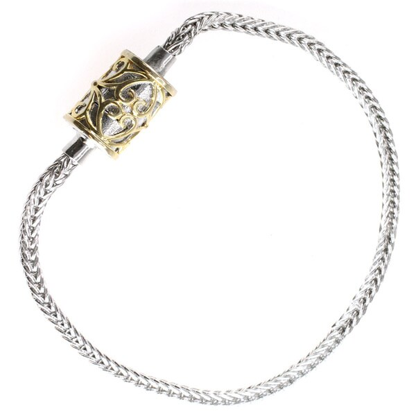 Michael Valitutti Palladium Silver Magnetic Closure Charm Bracelet