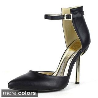 Fahrenheit Women's Brenda-02 Ankle Strap Pointy Toe Heels