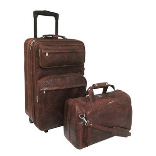 Amerileather Ostrich Brown Leather Two-piece Carry On Luggage Set
