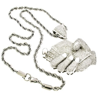 Sterling Silver Men's Cubic Zirconia Playing Cards Pendant