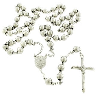 Stainless Steel Chrome Rosary Necklace Chain (32-inch)
