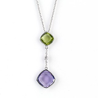 Soho Boutique 14k White Gold Cushion Amethyst Peridot and Diamond Accent Drop Necklace (H-I, SI1-SI2)