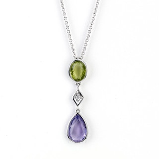 Soho Boutique 14k White Gold Amethyst Peridot and Diamond Accent Pear Drop Necklace (H-I, SI1-SI2)