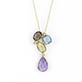 Soho Boutique 14k Yellow Gold Multi-gemstone Diamond Accent Necklace