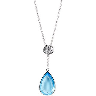 Soho Boutque by Neda Behnam 14k White Gold Pear-cut Blue Topaz and Diamond Accent Pendant