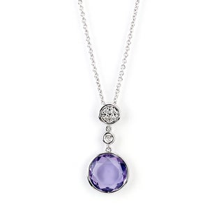 Soho Boutique 14k White Gold Round-cut Amethyst Diamond Accent Necklace (H-I, SI1-SI2)
