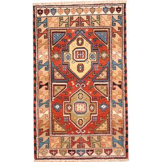 Herat Oriental Indo Hand-knotted Tribal Kazak Red/ Green Wool Rug (3' x 5')