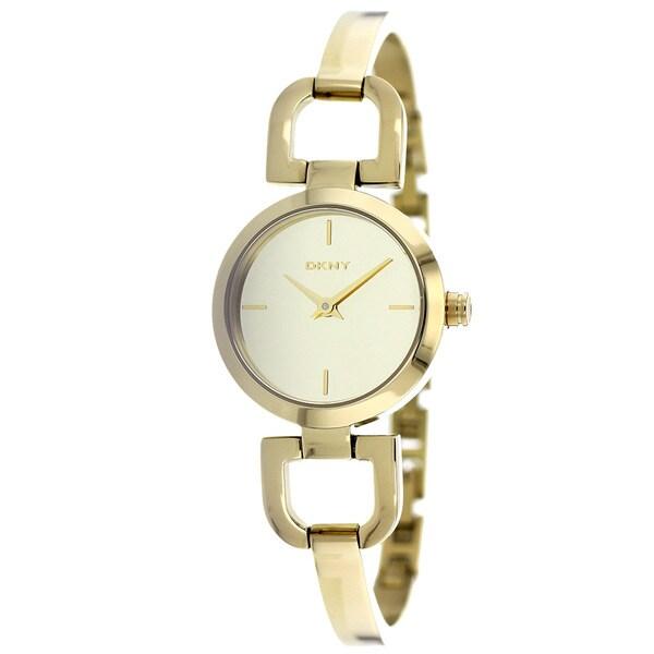 DKNY Women's NY8870 D-link Round Gold-Tone Bracelet Watch