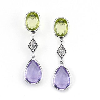Soho Boutique 14k White Gold Pear Amethyst Peridot and Diamond Accent Dangle Earrings