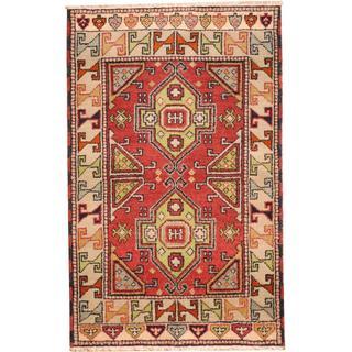 Herat Oriental Indo Hand-knotted Tribal Kazak Red/ Green Wool Rug (3'2 x 5')