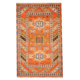 Herat Oriental Indo Hand-knotted Tribal Kazak Rust/ Blue Wool Rug (3'3 x 5')