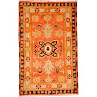 Herat Oriental Indo Hand-knotted Tribal Kazak Orange/ Blue Wool Rug (3'2 x 5')