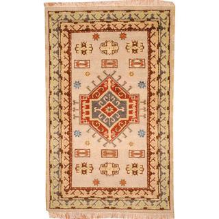 Herat Oriental Indo Hand-knotted Tribal Kazak Beige/ Gray Wool Rug (3'2 x 5')