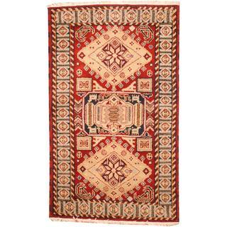 Herat Oriental Indo Hand-knotted Tribal Kazak Red/ Beige Wool Rug (3'2 x 5')