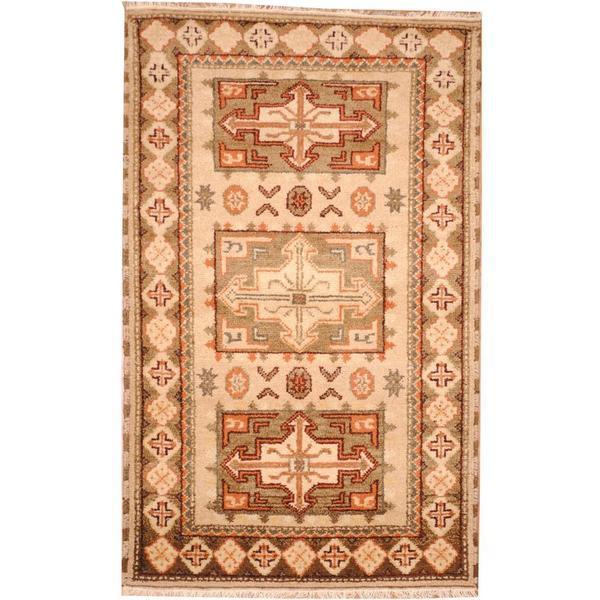 Herat Oriental Indo Hand-knotted Tribal Kazak Wool Rug (3'2 x 5'1) - 3'2 x 5'1 14700110