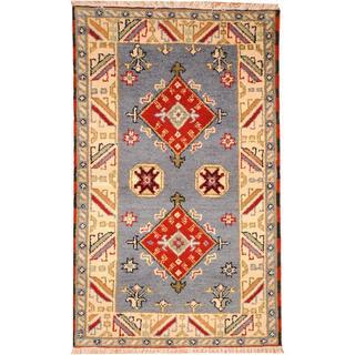 Herat Oriental Indo Hand-knotted Tribal Kazak Blue/ Red Wool Rug (3' x 5')