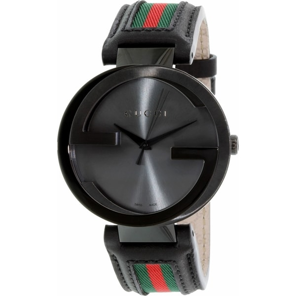 Gucci Men's YA133206 Quartz Interlocking Black Dial Black Leather Watch