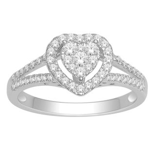 De Couer 10k White Gold 1/2ct TDW Diamond Heart Ring (H-I, I1-I2)