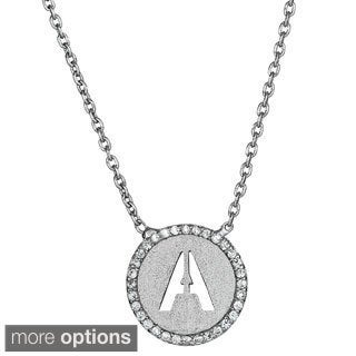 Sterling Silver Cubic Zirconia Micropave Initial Necklace
