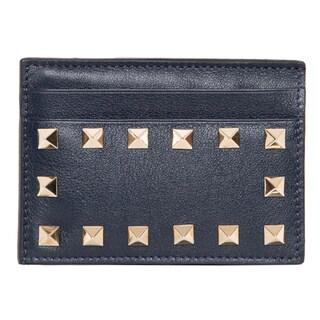 Valentino Rockstud Navy Leather Card Case