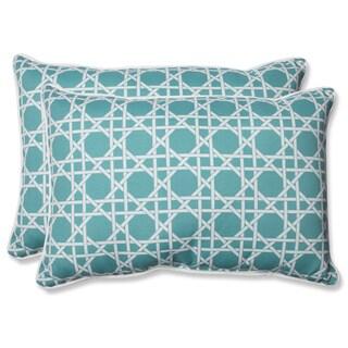 Pillow Perfect Outdoor Kane Aqua Over-sized Rectangular Throw Pillow (Set of 2)
